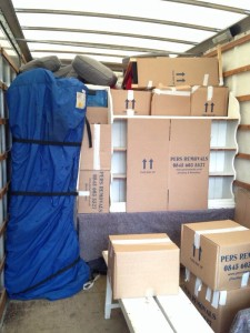 Fully packed van after loading